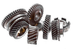 Old gears. Isolated on white royalty free stock photos