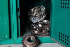 The old gears in box keeping. Royalty Free Stock Photos