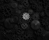 Old gears and cogs with bright one 3d illustration Royalty Free Stock Images