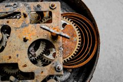 Old gears and cogs. Rusty parts of the clockwork. Steampunk Royalty Free Stock Photography