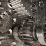 Old gears. Dark grunge background Stock Photo
