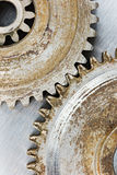 Old gears with rust on scratched industrial background macro Stock Photo