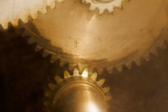Old gears through scratched glass Royalty Free Stock Photography