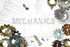 Old gears with screws on a white background. Stock Photo