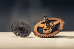 Old gears on table Royalty Free Stock Images
