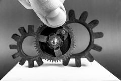Old gears on table Royalty Free Stock Photo