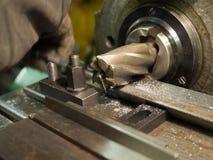 Old geen  milling machine, closeup, metalworking Stock Images