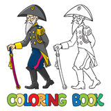 Old general or officer. Coloring book Royalty Free Stock Image