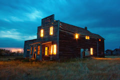 Old General Store at Night Stock Photo