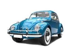 Old generic blue car on a white background Stock Photo