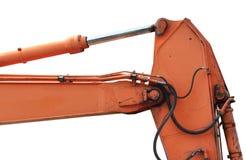 Old Generic Excavator Dipper Boom Bucket Ram Horizontal Closeup, Isolated Aged Weathered Orange Yellow Details, Backhoe Dozer. Hydraulics Hoses, Links, Pistons royalty free stock image