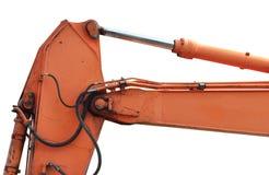 Old Generic Excavator Dipper Boom Bucket Ram Horizontal Closeup, Isolated Aged Weathered Orange Yellow Details, Backhoe Dozer. Hydraulics Hoses, Links, Pistons royalty free stock images