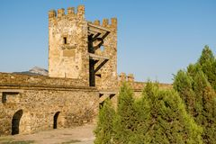 Genoese fortress in the city of Sudak Royalty Free Stock Image