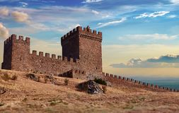 An old Genoese fortress in stock photos