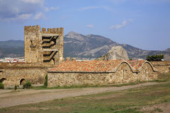 Old Genoese fortress XI century in Sudak. Crimea. Ukraine royalty free stock photos