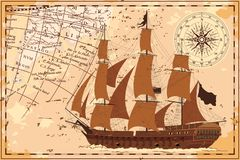 Old map with the ship. Royalty Free Stock Images