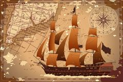Old map with the ship. Stock Photo