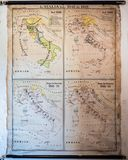 Vintage geographical map of Italy with the borders from 1848 to. Old geographical map of Italy with the borders from 1848 to 1918 stock photos