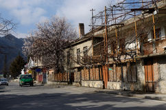 Old georgian architecture and spring blossom trees in Mtskheta Royalty Free Stock Photo