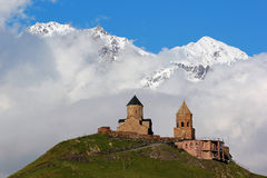 Old Gergeti christian church near Kazbegi, Stepantsminda village Stock Image