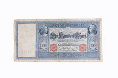 Old German bank note. An old 1908 German 100 Mark bank note Stock Photography