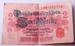 Old German banknote from 1914. Picture of an  Old German banknote from 1914 Royalty Free Stock Photography