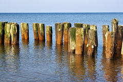 Old german breakwater on the Baltic Sea coast. Stock Images