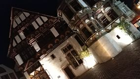Old german buildings. At night with nice lights Stock Photos