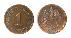Old german coin. Two sides of old germanic 1 pfennig coin of 1876 Royalty Free Stock Images