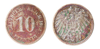 Old german coin. Two sides of old germanic 10 pfennig coin of 1912 Stock Image