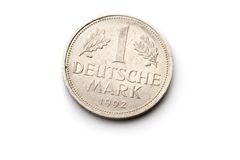 Old german coin. On white background Royalty Free Stock Photography