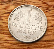 Old german coin. Of one deutsche mark Royalty Free Stock Photos