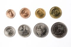 Old German coins on a white background. Mark Royalty Free Stock Photos