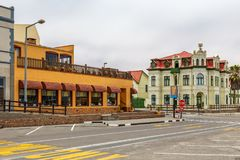 Old German colonial buildings and empty streets of Swakopmund, N. Amibia stock image