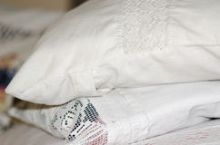 Old german embroidered pillow Stock Photos