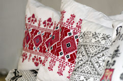 Old german embroidered pillow Stock Photo