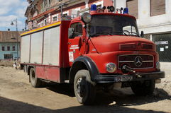 Old german fire brigade car - Mercedes Stock Photo