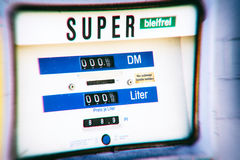 Old German gas pump with DM prices Royalty Free Stock Photos