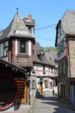 Old German half-timbered houses, Braubach, Germany. Old German street with half-timbered houses in the place Braubach on the Rhine, Germany stock image