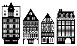 Old German houses. Set on white background Royalty Free Stock Photography