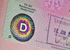Old German immigration visa Royalty Free Stock Photos