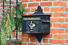 Old German mailbox. Kaliningrad (until 1946 Konigsberg), Russia. Old German mailbox. Museum of the World ocean. Kaliningrad (until 1946 Koenigsberg), Russia stock photo