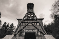 old german mine tower in sepia Stock Image