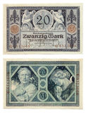 Old German Money. Ancient German currency notes issued by Empire Bank in 1915. 20 Deutsche Marks. Horn of plenty. Allegory of day and night Stock Images