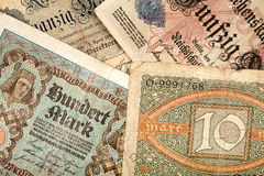 Old german money. Notes background Royalty Free Stock Photos