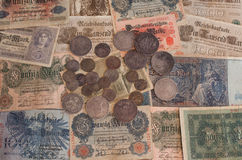 Old German money. Bills and coins Royalty Free Stock Photo