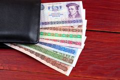 Old German money in the black wallet Royalty Free Stock Photography