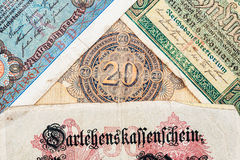 Old german money. Notes background Stock Photography