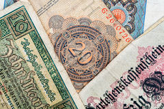 Old german money. Notes background Royalty Free Stock Image