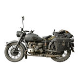 An Old German Motorbike. An old Motorbike used by german army during World War Two isolated on white royalty free stock photos